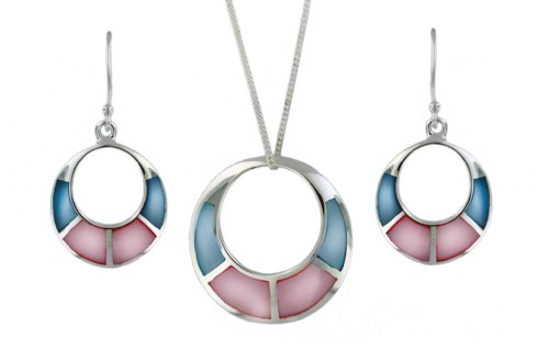 Silver Set of Pink/Blue Mother-of-Pearl Round Earrings and Pendant on Chain 46cm