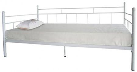 Lit de jour en 3m Cadre de lit Taille simple, blanc, 90 x 190 cm