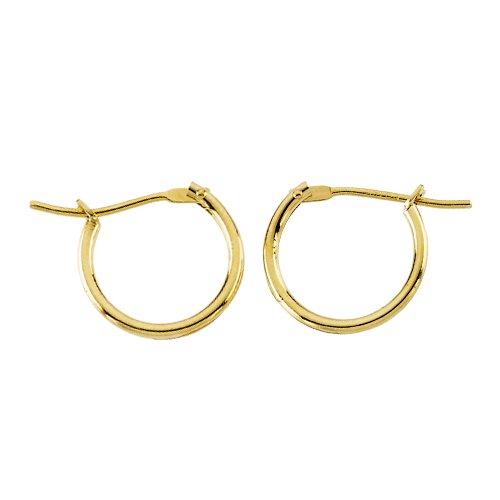 14K Yellow Gold 10 MM Children's Click Hoop Earrings