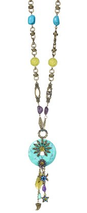 Amaro Jewelry Studio 'Purpelfish' Collection Necklace Designed with Star Elements, Howlite Turquoise, Blue Lace Agate, Amazonite, Cape Amethyst, Green Jade and Swarovski Crystals