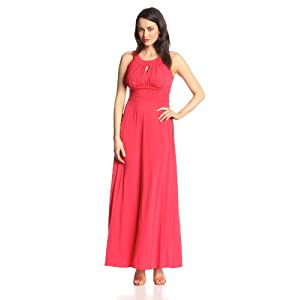 Sangria Women's Halter Keyhole Maxi Dress, Carnation, 16