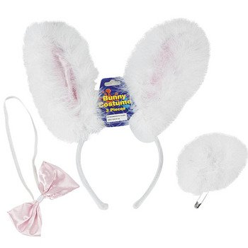 One Bunny Rabbit Headband, Tail and Bowtie Costume Set