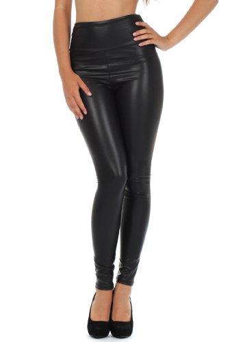 Sakkas 1436 Matte Liquid High Waist Stretch Leggings - Made in USA - Black - M