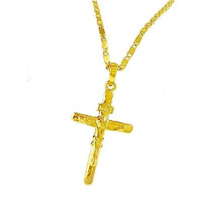 14K  Yellow Gold Jesus Es Mi Senor Cross Charm Pendant