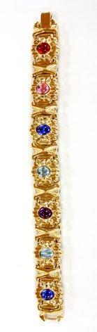 Multicolored Gemstone Embellished Link Bracelet - Fashion Bracelet