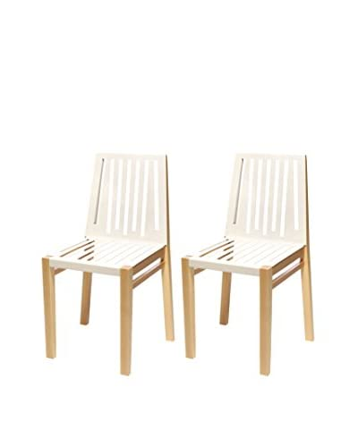 nine6 Set of 2 Marlowe Chairs, Natural Ash/Pure White