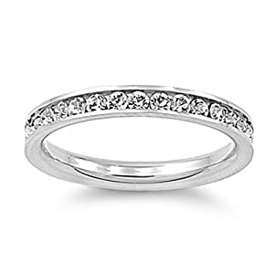 Stainless Steel Eternity Cz Wedding Band Ring 3mm Sz 3-10; Comes with Free Gift Box (5)