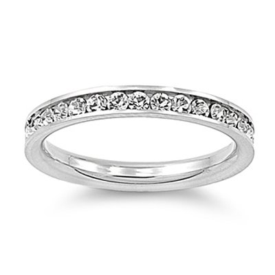 316L Stainless Steel Eternity CZ Wedding Band