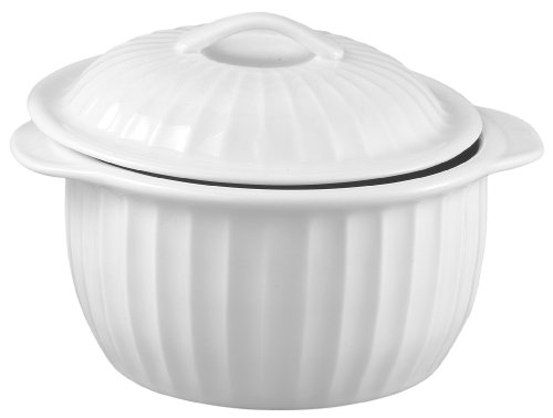 HIC 64-Ounce Lidded Round Casserole Dish, White