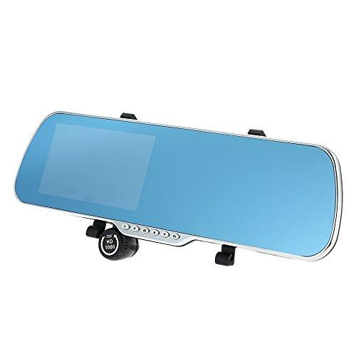 KKmoon 5 Zoll Android-Smart-System GPS Navigation Auto Rückspiegel DVR Doppellinse Vorne Hinten 1080P 720p-Kamera-Recorder mit G-Sensor-Motion Detection Nachtsicht
