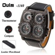 OULM Luxury Metal Dial Watch with Dual Quartz Movement/Compass/Thermometer for Man