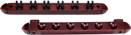 Buy Bargain Standard 6 Pool Cue Stained Wood Wall Rack with Clips