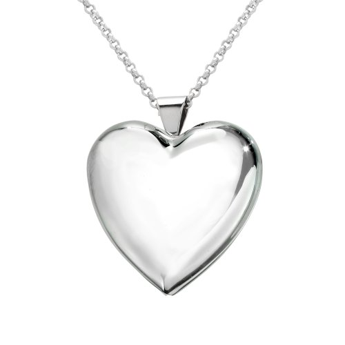 Sterling Silver Heart Locket Pendant Necklace , 30