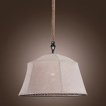 40W E27 Metal Pendant Light With Flax Fabric Shade Lighting