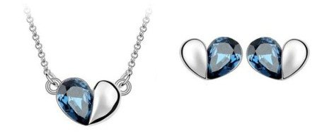 18K Gold Plated Heart Pendant Necklance and Stud earrings set