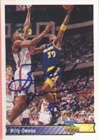 Billy Owens Golden State Warriors 1992 Upper Deck Autographed Hand Signed Trading... by Hall of Fame Memorabilia