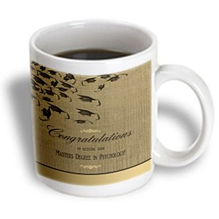 3Drose Mug_172662_2 Masters Degree In Psychology Graduation Congratulations, Caps On Gold Ceramic Mug, 15-Ounce