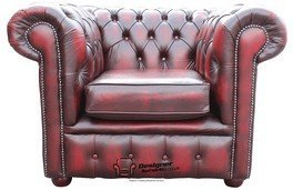 Chesterfield poltrona schienale basso Club Antique Oxblood pelle