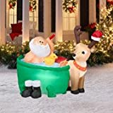 Airblown 4.5' Tall x 4' Long Santa in a Bathtub Christmas Inflatable
