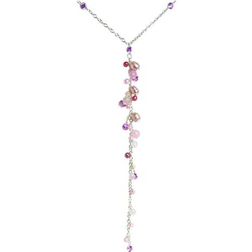 Sterling Silver Multi Gemstone Necklace 18