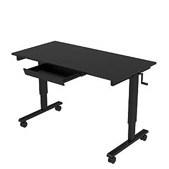 """60"""" Crank Adjustable Height Standing Desk (Black Frame / Black Gloss Top + Drawer)"""