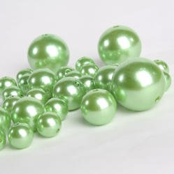 Factory Direct Craft Wholesale Elegant Vase Fillers - 8 Ounce Bag (Approx 68 Pearls) Oversized Green Pearl Beads - Unique Decorative Gems