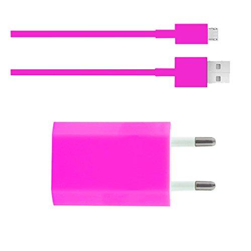 Premium 2in1 SET Netzteil Adapter + micro USB Datenkabel - PINK - HANDY Ladegerät - Ladekabel - Alcatel One Touch Idol S - One Touch 992D - One Touch Idol 2 Dual SIM - One Touch Idol 2 - One Touch Hero - Original Lanboo zubehör