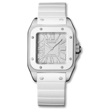 Cartier Women's W20129U2 Santos 100 White Rubber Roman Numeral Dial Watch