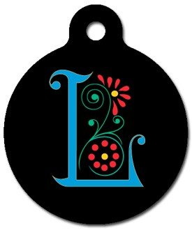 Monogram Letter L Pet ID Tag for Dogs and Cats