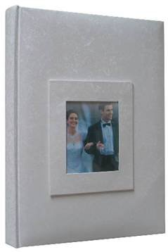 "Kleer-Vu Photo / Memo Album with Window, Wedding Moire Collection, White, Holds 300 4x6"" Photos, 3 Per Page."