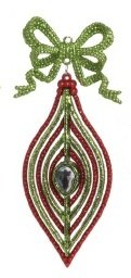 """8"""" Christmas Brites Red & Green Glitter Flat Finial Christmas Ornament with Bow"""