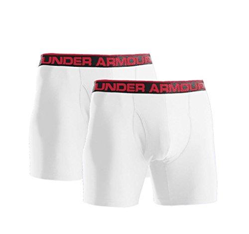 Under Armour Men'S The Original Heatgear 6'' Boxerjock® Boxer Briefs, White, Small, 2-Pack