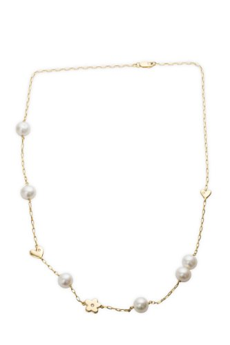 Miore 18ct Yellow Gold Neckwear Freshwater Pearl, Diamond Set Hearts and Flower, 44cm Chain  AG0171