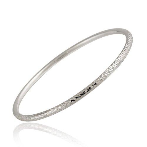 Sterling Silver 3mm Diamond-Cut Bangle
