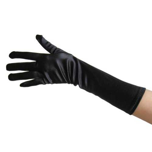 Black Satin Gloves (Elbow Length) ~ Formal, Wedding, Theatrical, Costume Party