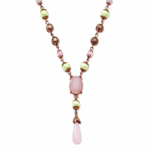 Rose-Tone Simulated Pearl & Rose Quartz 16in W/Ext Y Necklace
