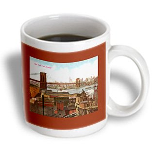 Mug_170440_2 Bln Vintage New York City Collection - New York City As Seen From Brooklyn With The Brooklyn Bridge - Mugs - 15Oz Mug