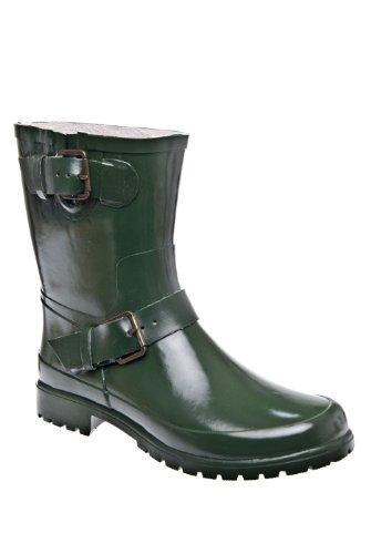 Falcon Motorcycle Low Heel Buckled Rain Boot