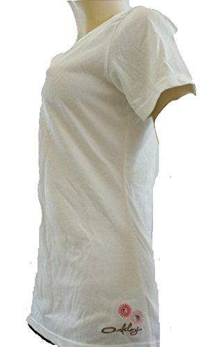 Oakley Beige a maniche corte Fiore Dettagliata T Shirt bianco Large
