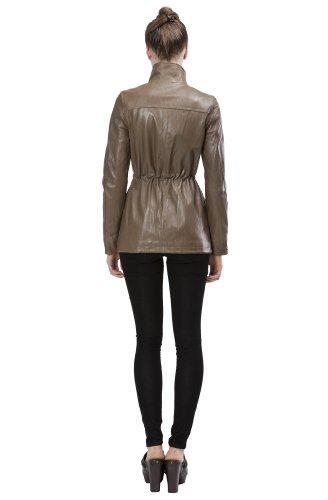 United Face Womens Lambskin Military Leather Jacket X-Large Olive