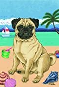 Pug Brown - by Tomoyo Pitcher, Summer Themed Dog Breed Flags 12 x 18