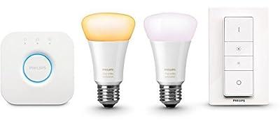 Philips Hue White Ambiance LED Lampe E27 Starter Set inkl. Dimmschalter und Bridge, alle Weißschattierungen, steuerbar via App, 8718696548752