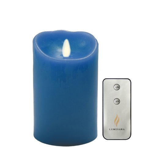 Luminara 5″ Blue Flameless Wax Candle – with Timer and Remote
