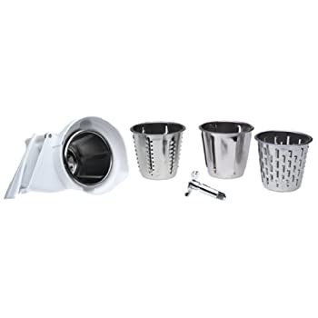 Rotor slicer/shredder for stand mixers includes 4 standard cones: fine shredder, coarse shredder, thick slicer, thin slicer. Makes thick or thin slices of firm fruit and vegetables, as well as fine or course shreds of crisp vegetables, nuts and firm ...