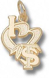 Florida State University I Heart FS Feather 1 2 - 10K Gold by Logo Art