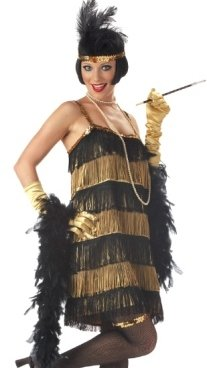 Womens 1920s Adult Costume Roaring 20s Jazz Flapper Dancer Gold and Black Fringe Dress Party Outfit