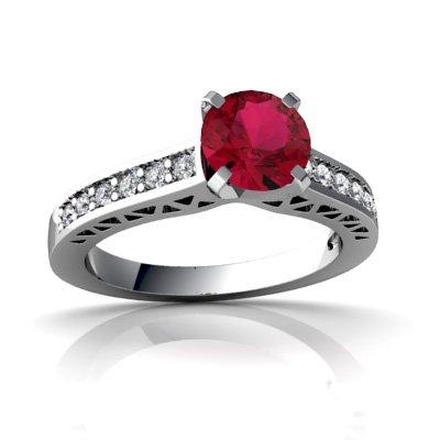 14ct White Gold Round Lab Ruby Ring