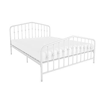 Novogratz Bushwick Metal Queen Bed with Stylish Headboard and Footboard, 2 Adjustable Heights, Includes Metal Slats, White