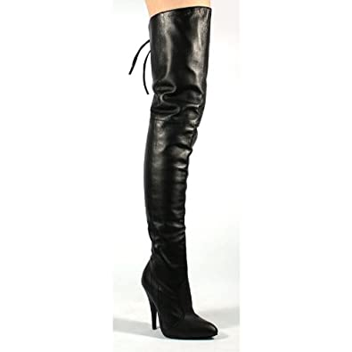 "5"" Thigh Boot Black Leather 9"