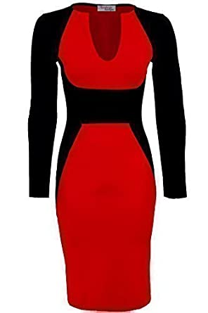 Ladies Long Sleeve V neck Black Contrast Midi Knee Length Womens Bodycon Party Dress [Red, UK 8]